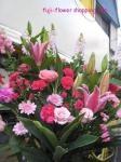 ピンク色スタンド花
